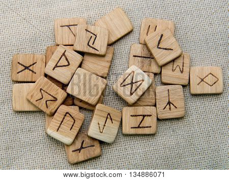 Ancient wooden runes, slavic magic, top futark
