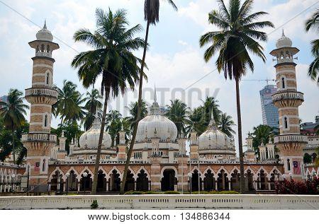Jamek Mosque in center of Kuala Lumpur, Malaysia.