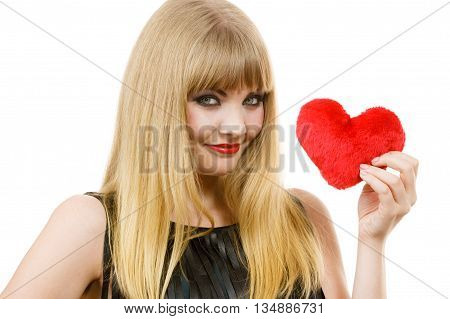 Woman Gorgeous Girl Holding Red Heart Love Symbol