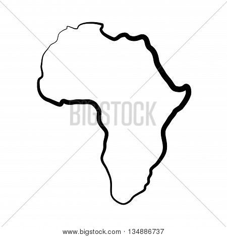 Africa concept represented by continent map silhouette icon over flat and isolated background
