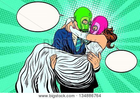 Radioactive Apocalypse wedding bride and groom pop art retro vector. A man carries a woman on his hands. couple love