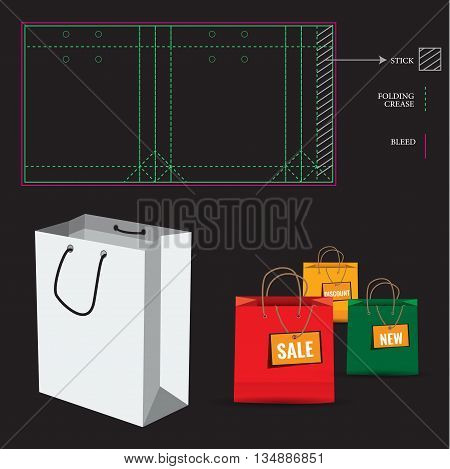 Shopping Paper Bag with Die Cut Layout template. Cut and fold lines. Double paper protected holes.