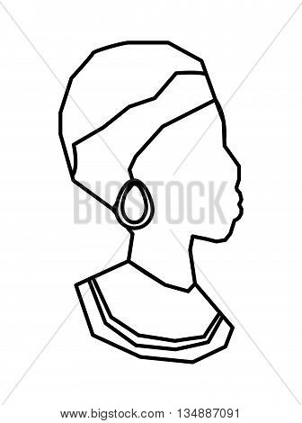 Africa concept represented by traditional woman icon over flat and isolated background