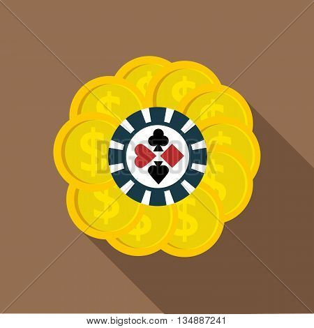 Set of casino chips icon in flat style with long shadow