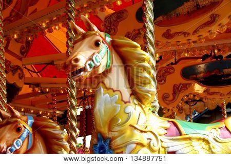 Abstract Holiday Carousel Funfair Beach Scene Dorset England