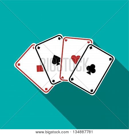 Playing cards icon in flat style with long shadow