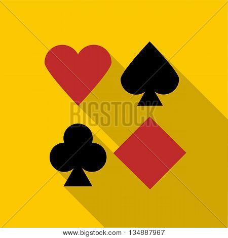 Set of playing card symbols icon in flat style with long shadow