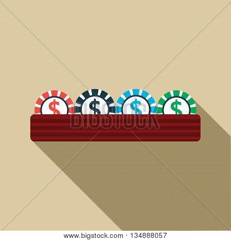Casino gambling chips icon in flat style with long shadow