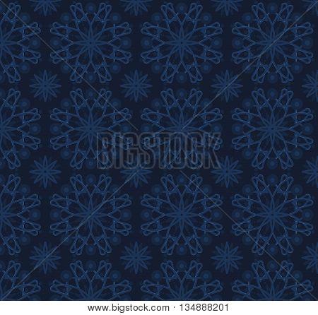 Stock vector illustration seamless pattern, arabesque background, Arabic background, volume dark blue pattern