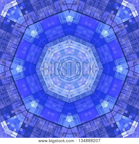 Background with abstract bright blue concentric pattern