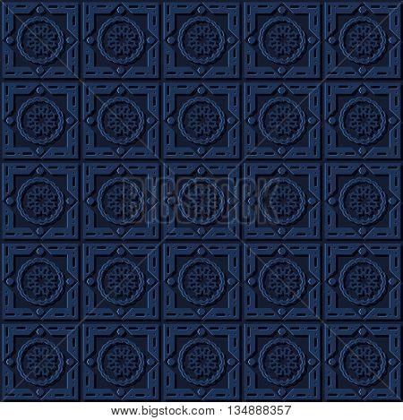 Stock vector illustration seamless pattern, arabesque background, Arabic background, geometric volume dark pattern