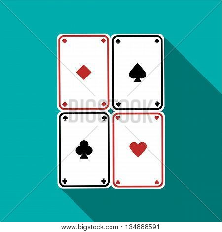 Poker cards set icon in flat style with long shadow
