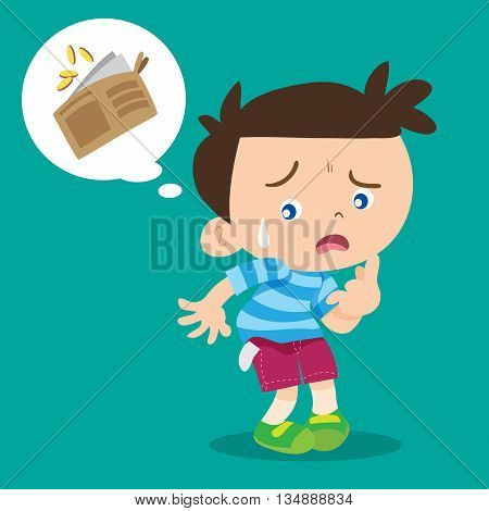 illustration of cartoon cute boy lose money.