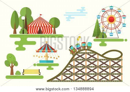 Set of vector cartoon flat design composition with amusement park elements for infographic