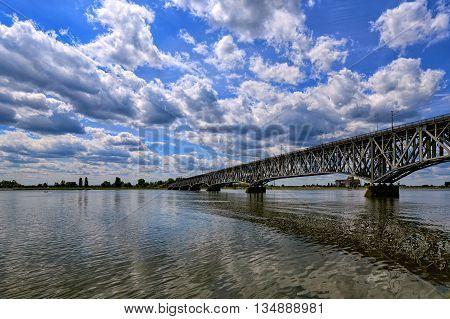 Construction of the steel bridge in Plock Poland