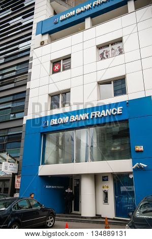 BUCHAREST, FRANCE - OCT 1 2016: Blom Bank France headquarter in Bucharest Romania. The Bank was established in 1976 and currently has branches in Paris London Romania Dubai & Sharjah.