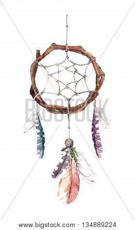 Dream catcher - dreamcatcher with bird feathers. Watercolor