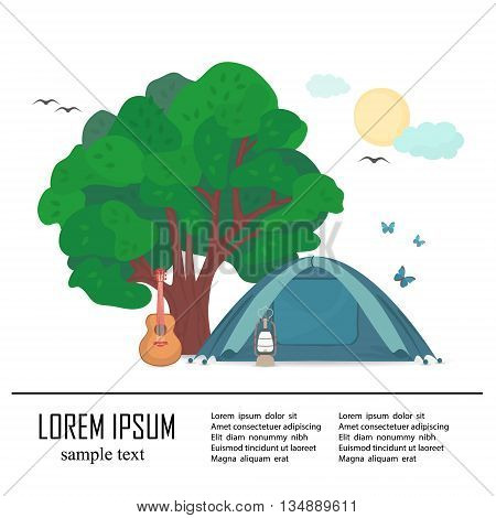 Ecotourism .  Vector flat illustration with tent under the tree.