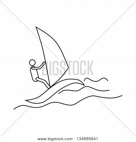 Windsurfing icon in outline style isolated on white background. Rest and sport symbol