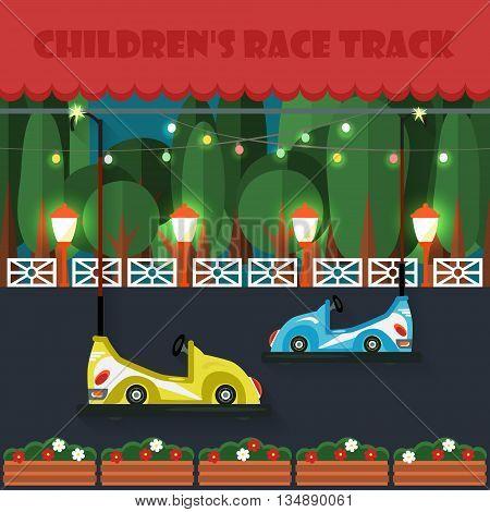 Children's race track. Amusement park . Sights. Vector illustration. Flat style.
