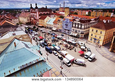 18/06/2016 Chomutov city Czech Republic - south view from the 'Mestska vez' tower to the historic town with 'Namesti 1. Maje' 'square during the farmers' markets