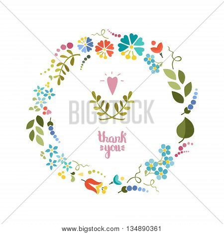 Cute floral wreath on white background. Vector background .