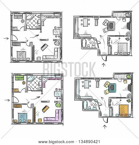 Apartment plan with furniture vector sketch EPS 10 format fully editable