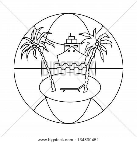 Sea world travel icon in outline style isolated on white background. Rest symbol