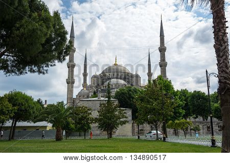 ISTANBUL, TURKEY - JUNE 19, 2015: Sultan Ahmet Mosque (Turkish: Sultan Ahmet Camii) a historic mosque in Istanbul Turkey. The mosque is popularly known as the Blue Mosque for the blue tiles adorning the walls of its interior