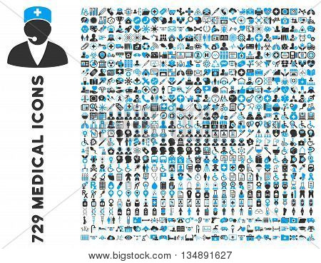 Medical Icon Clipart with 729 vector icons. Style is bicolor blue and gray flat icons isolated on a white background.