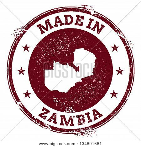 Zambia Vector Seal. Vintage Country Map Stamp. Grunge Rubber Stamp With Made In Zambia Text And Map,