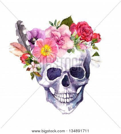 Human skull with flowers and feathers in boho style. Watercolor