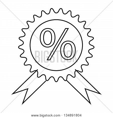 Label discount icon in outline style isolated on white background. Purchase symbol