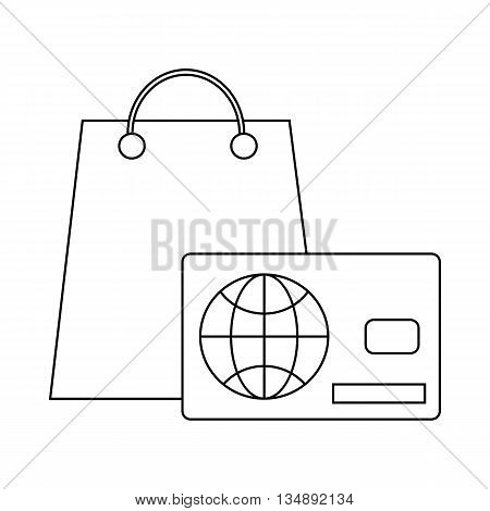 Credit card purchases icon in outline style isolated on white background. Finance symbol