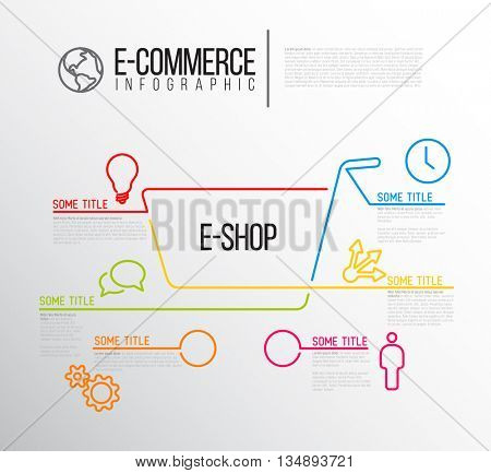 Vector e-commerce e-shop infographic report template made from lines and icons - nice infographic template for eshop, ecommerce and online business.