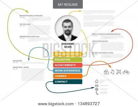 Vector original minimalist cv / resume template - creative version with thin lines connecting work experiences, education, personal info, achievements