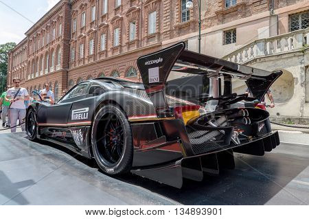 TURIN, ITALY - JUNE 13, 2015: Rear view of a Pagani Zonda Revolucion on display at Turin open air car show