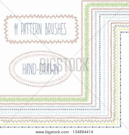 Set of hand-drawn vector pattern brushes with corner tiles .