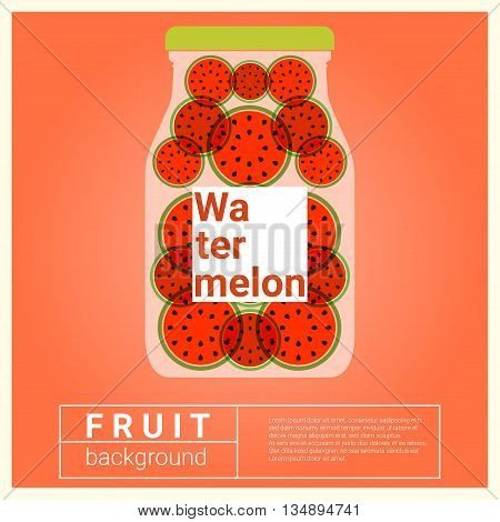 Infused water fruit recipe with watermelon, vector, illustration