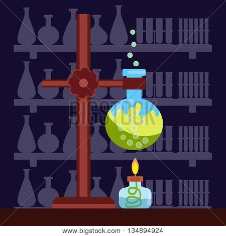 Chemical laboratory in a flat style. Vector .
