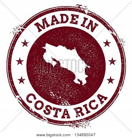 Costa Rica Vector Seal. Vintage Country Map Stamp. Grunge Rubber Stamp With Made In Costa Rica Text