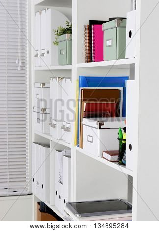 Bookcase with folders. cabinet, shelf, file door