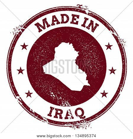 Iraq Vector Seal. Vintage Country Map Stamp. Grunge Rubber Stamp With Made In Iraq Text And Map, Vec