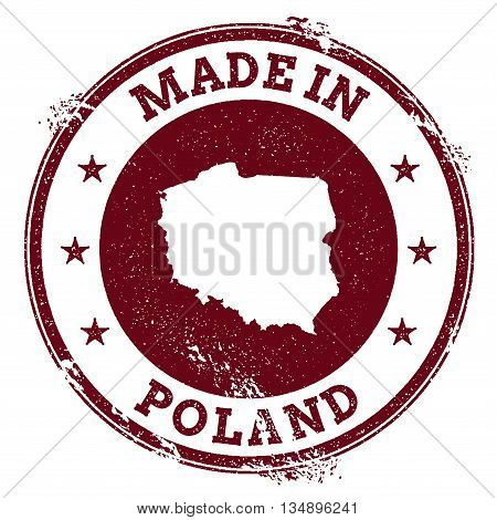 Poland Vector Seal. Vintage Country Map Stamp. Grunge Rubber Stamp With Made In Poland Text And Map,