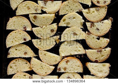 Sweet Rusk Bread On Old Wooden Background, Selective Focus.