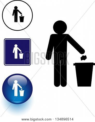 depositing trash in container symbol sign and button
