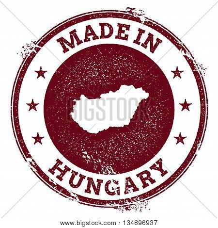 Hungary Vector Seal. Vintage Country Map Stamp. Grunge Rubber Stamp With Made In Hungary Text And Ma