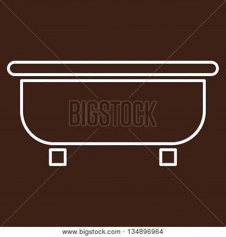 Bathtub glyph icon. Style is stroke flat icon symbol, white color, brown background.