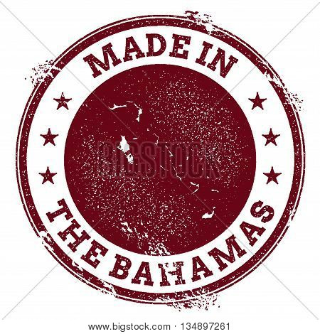 Bahamas Vector Seal. Vintage Country Map Stamp. Grunge Rubber Stamp With Made In Bahamas Text And Ma
