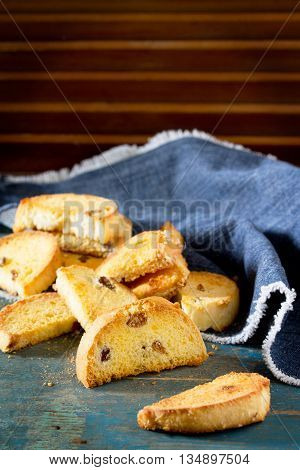 Sweet Rusk Bread On Old Wooden Background. Space For Your Text.